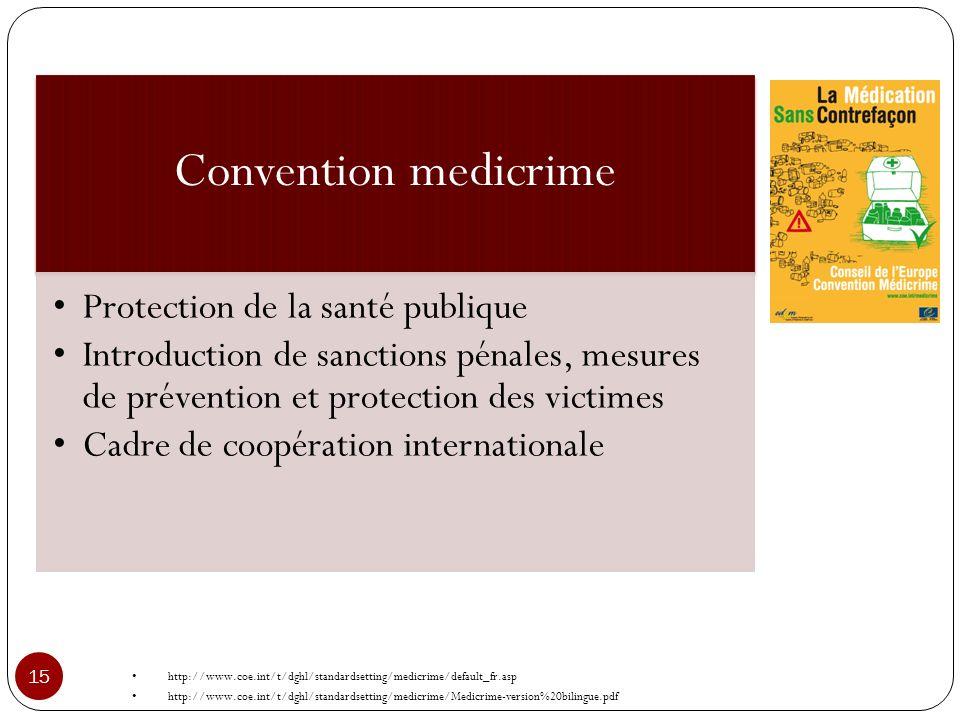 Convention medicrime Protection de la santé publique Introduction de sanctions pénales, mesures de prévention et protection des victimes Cadre de coop