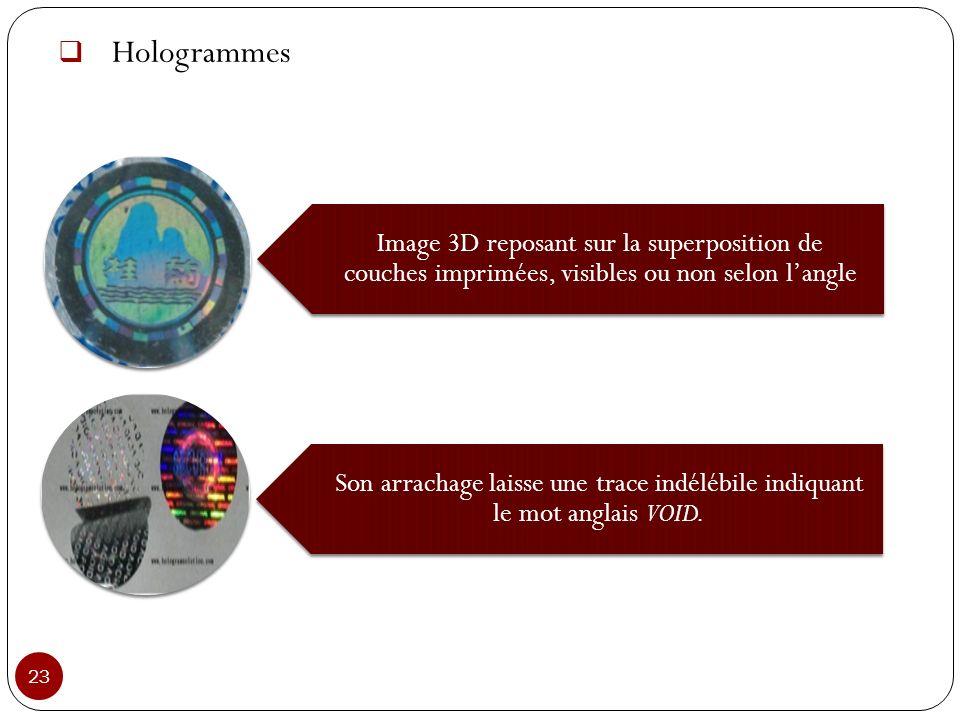 Hologrammes 23 Image 3D reposant sur la superposition de couches imprimées, visibles ou non selon langle Son arrachage laisse une trace indélébile ind