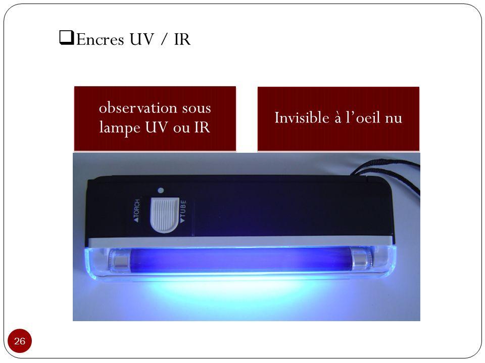 observation sous lampe UV ou IR Invisible à loeil nu 26 Encres UV / IR
