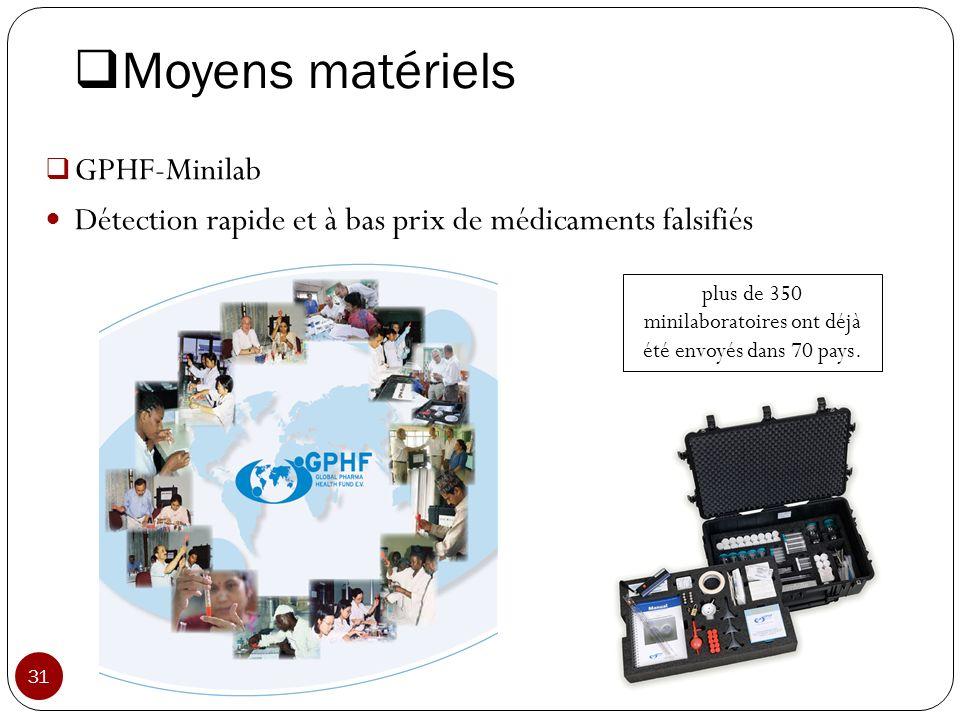Moyens matériels GPHF-Minilab Détection rapide et à bas prix de médicaments falsifiés plus de 350 minilaboratoires ont déjà été envoyés dans 70 pays.