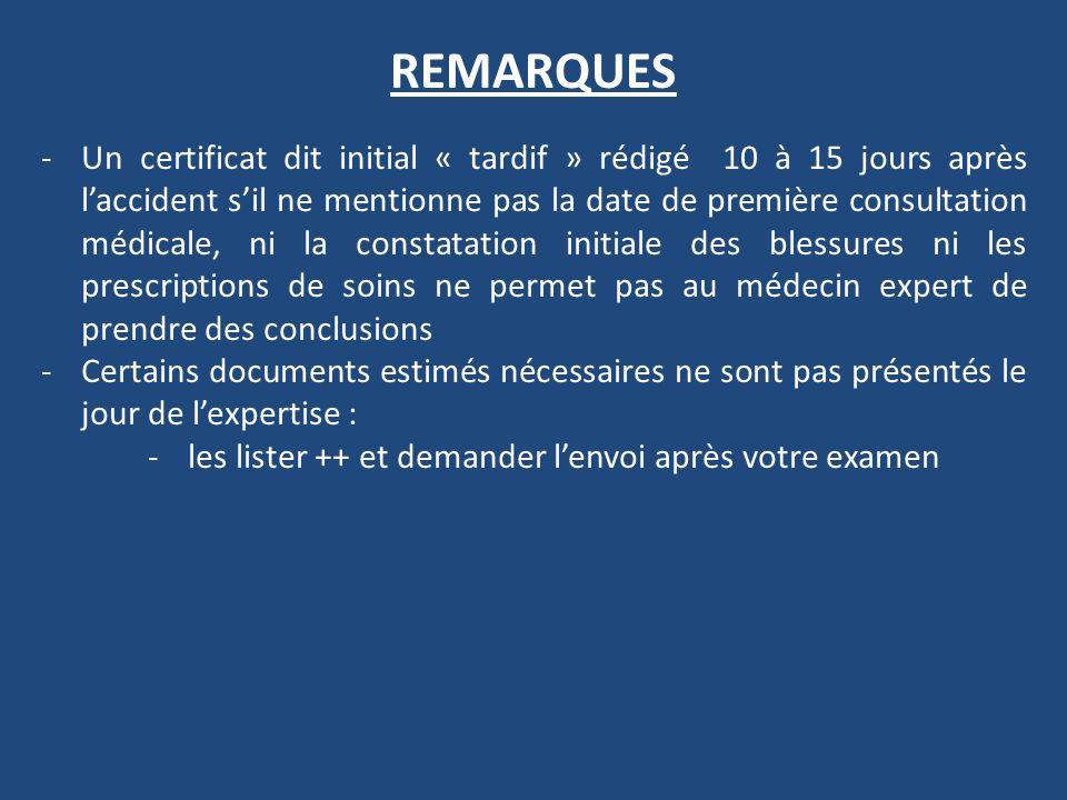 REMARQUES -Un certificat dit initial « tardif » rédigé 10 à 15 jours après laccident sil ne mentionne pas la date de première consultation médicale, n