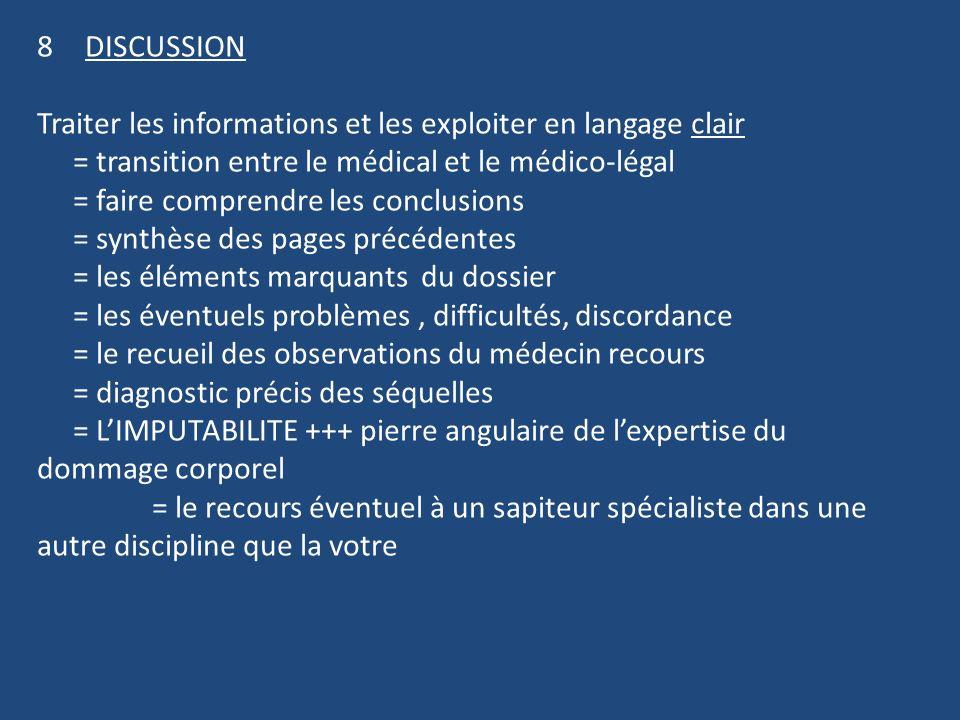 8DISCUSSION Traiter les informations et les exploiter en langage clair = transition entre le médical et le médico-légal = faire comprendre les conclus