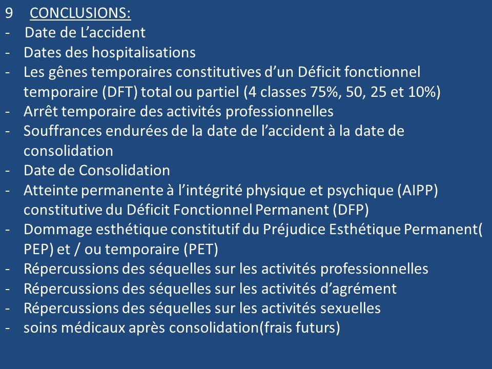9CONCLUSIONS: - Date de Laccident -Dates des hospitalisations -Les gênes temporaires constitutives dun Déficit fonctionnel temporaire (DFT) total ou p