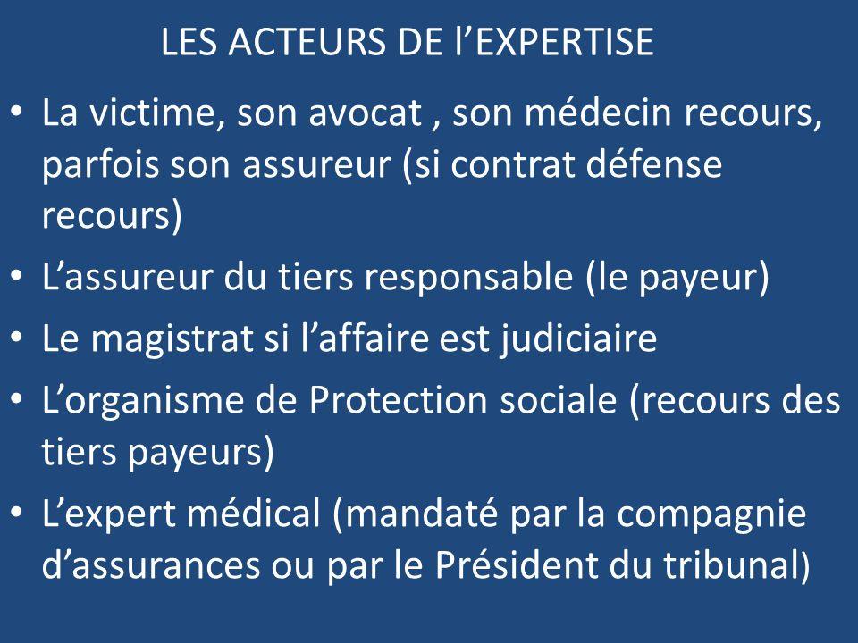 LES ACTEURS DE lEXPERTISE La victime, son avocat, son médecin recours, parfois son assureur (si contrat défense recours) Lassureur du tiers responsabl