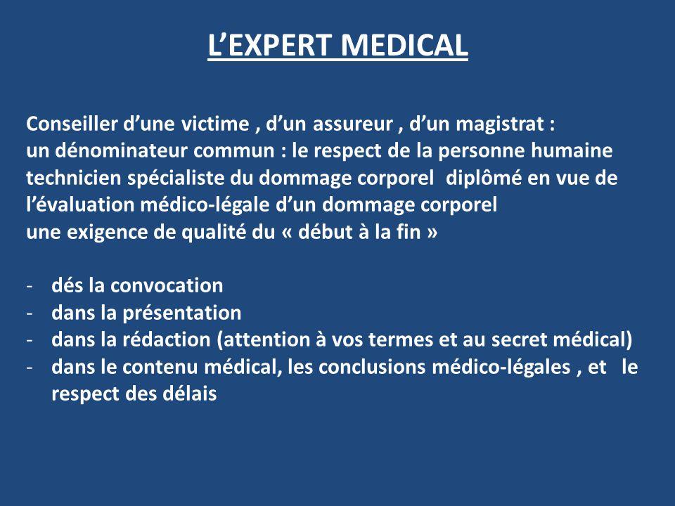 LEXPERT MEDICAL Conseiller dune victime, dun assureur, dun magistrat : un dénominateur commun : le respect de la personne humaine technicien spécialis