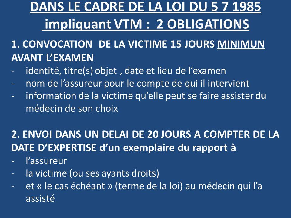 DANS LE CADRE DE LA LOI DU 5 7 1985 impliquant VTM : 2 OBLIGATIONS 1. CONVOCATION DE LA VICTIME 15 JOURS MINIMUN AVANT LEXAMEN -identité, titre(s) obj