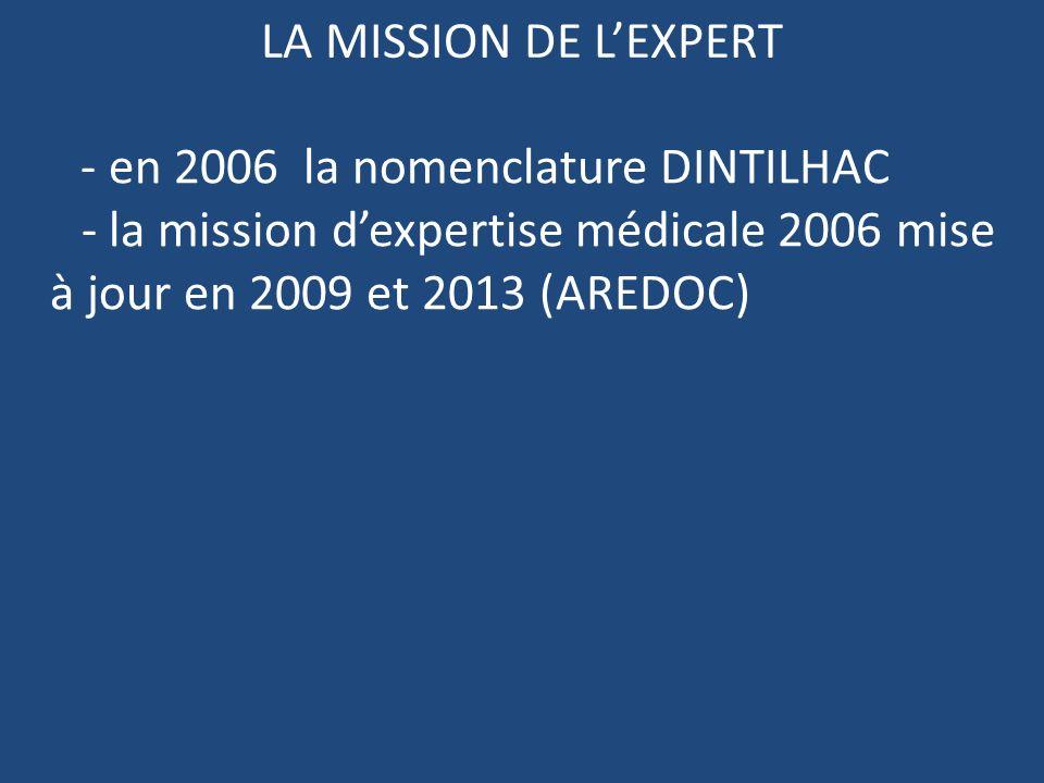 LA MISSION DE LEXPERT - en 2006 la nomenclature DINTILHAC - la mission dexpertise médicale 2006 mise à jour en 2009 et 2013 (AREDOC)
