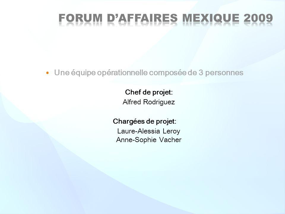 Une équipe opérationnelle composée de 3 personnes Chef de projet: Alfred Rodriguez Chargées de projet: Laure-Alessia Leroy Anne-Sophie Vacher