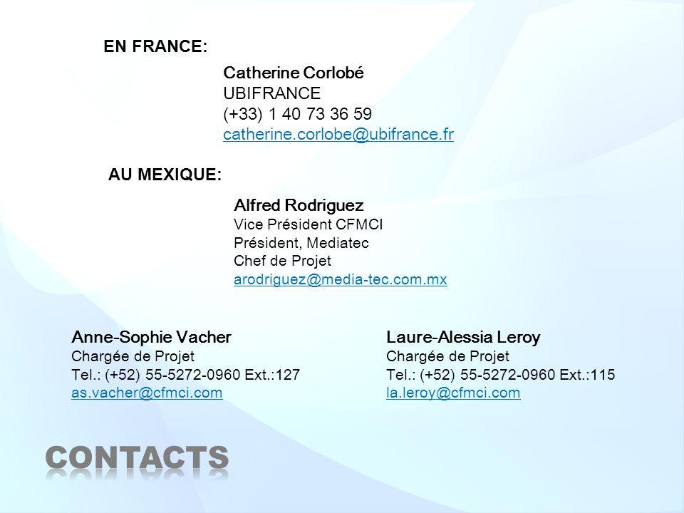 Catherine Corlobé UBIFRANCE (+33) 1 40 73 36 59 catherine.corlobe@ubifrance.fr Anne-Sophie Vacher Chargée de Projet Tel.: (+52) 55-5272-0960 Ext.:127