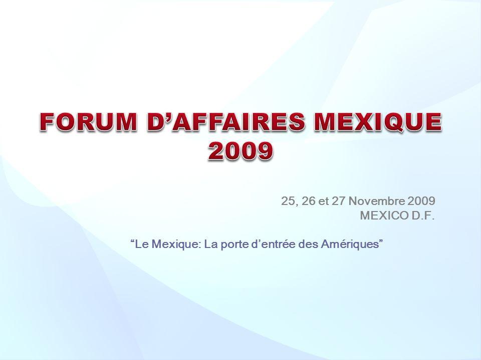 25, 26 et 27 Novembre 2009 MEXICO D.F. Le Mexique: La porte dentrée des Amériques