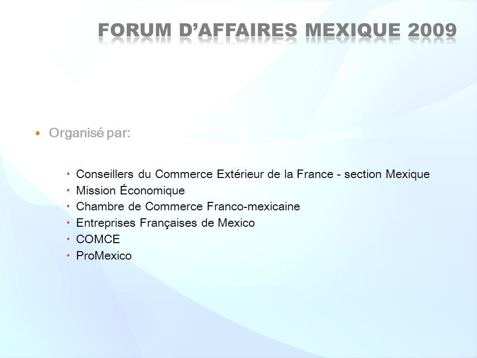 Organisé par: Conseillers du Commerce Extérieur de la France - section Mexique Mission Économique Chambre de Commerce Franco-mexicaine Entreprises Fra