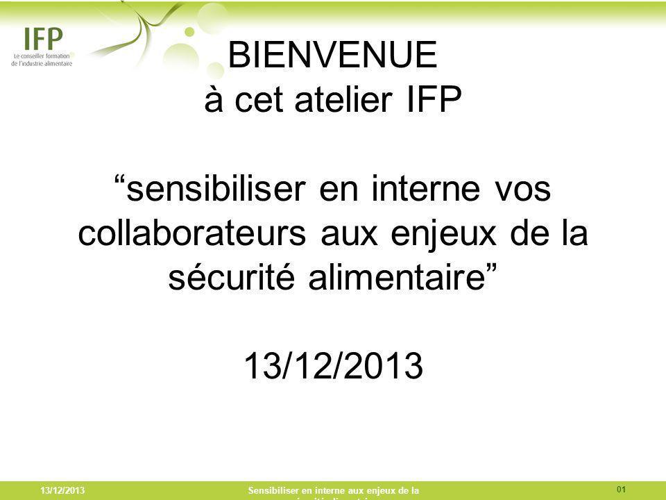 13/12/2013Sensibiliser en interne aux enjeux de la sécurité alimentaire BIENVENUE à cet atelier IFP sensibiliser en interne vos collaborateurs aux enj