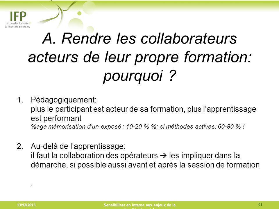 A. Rendre les collaborateurs acteurs de leur propre formation: pourquoi ? 1.Pédagogiquement: plus le participant est acteur de sa formation, plus lapp