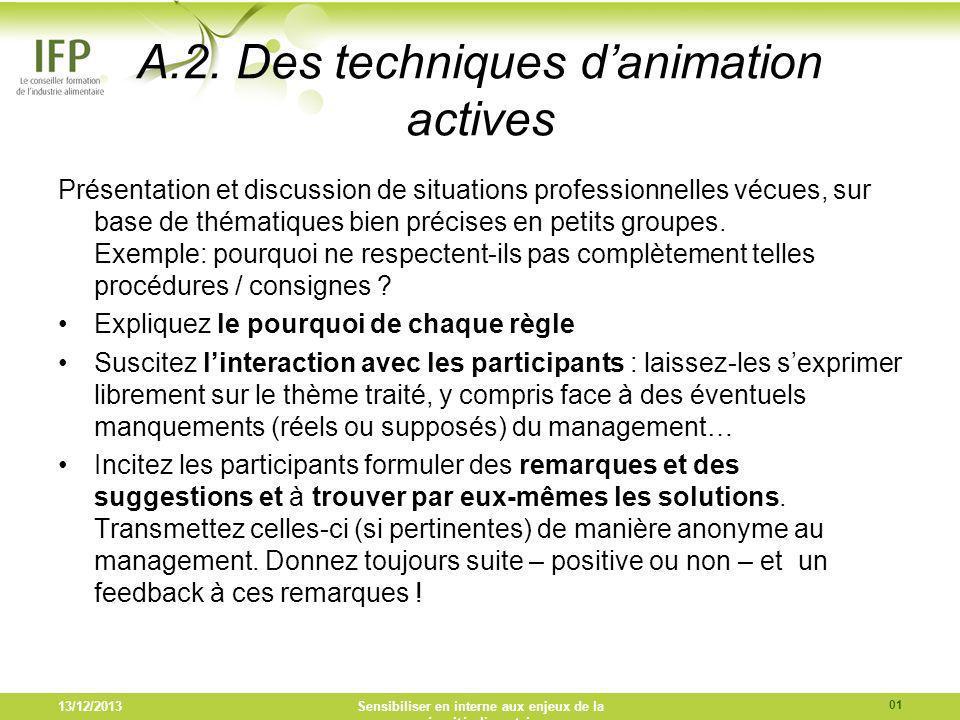A.2. Des techniques danimation actives Présentation et discussion de situations professionnelles vécues, sur base de thématiques bien précises en peti