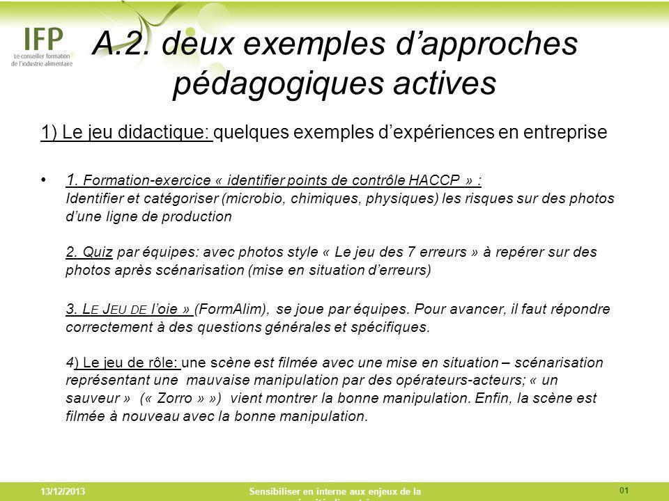 A.2. deux exemples dapproches pédagogiques actives 1) Le jeu didactique: quelques exemples dexpériences en entreprise 1. Formation-exercice « identifi