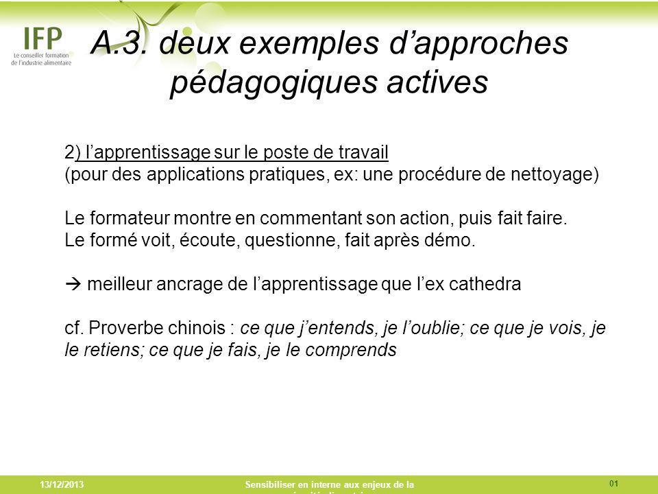 A.3. deux exemples dapproches pédagogiques actives 2) lapprentissage sur le poste de travail (pour des applications pratiques, ex: une procédure de ne