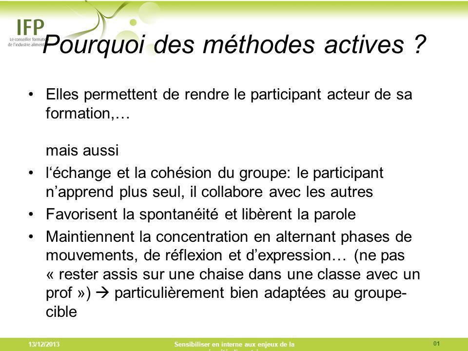 Pourquoi des méthodes actives ? Elles permettent de rendre le participant acteur de sa formation,… mais aussi léchange et la cohésion du groupe: le pa
