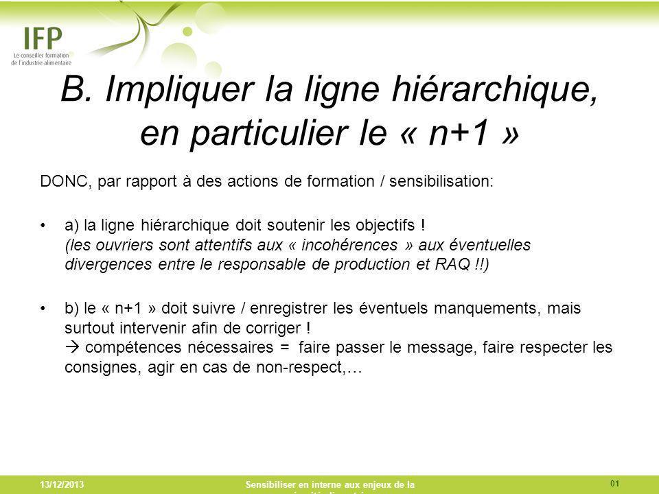 B. Impliquer la ligne hiérarchique, en particulier le « n+1 » DONC, par rapport à des actions de formation / sensibilisation: a) la ligne hiérarchique