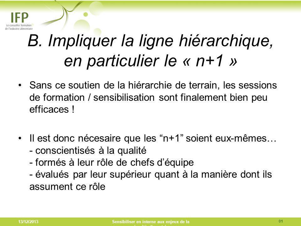 B. Impliquer la ligne hiérarchique, en particulier le « n+1 » Sans ce soutien de la hiérarchie de terrain, les sessions de formation / sensibilisation