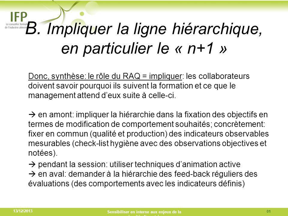 B. Impliquer la ligne hiérarchique, en particulier le « n+1 » Donc, synthèse: le rôle du RAQ = impliquer: les collaborateurs doivent savoir pourquoi i