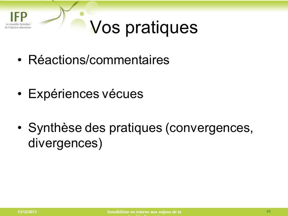 Vos pratiques Réactions/commentaires Expériences vécues Synthèse des pratiques (convergences, divergences) 13/12/2013Sensibiliser en interne aux enjeu