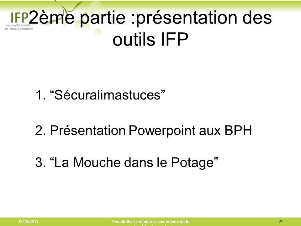2ème partie :présentation des outils IFP 1. Sécuralimastuces 2. Présentation Powerpoint aux BPH 3. La Mouche dans le Potage 13/12/2013Sensibiliser en