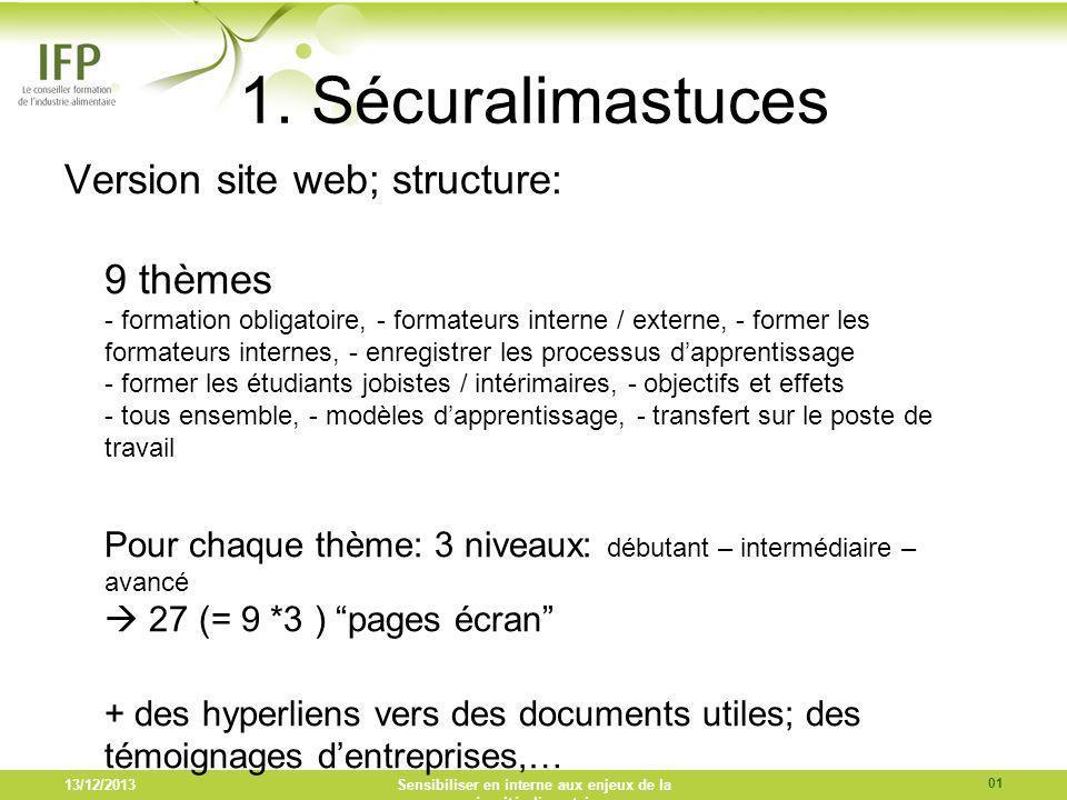 1. Sécuralimastuces Version site web; structure: 9 thèmes - formation obligatoire, - formateurs interne / externe, - former les formateurs internes, -