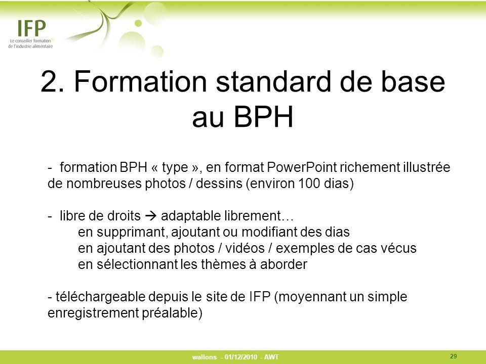 2. Formation standard de base au BPH - formation BPH « type », en format PowerPoint richement illustrée de nombreuses photos / dessins (environ 100 di