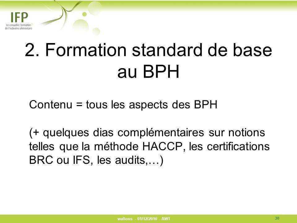 2. Formation standard de base au BPH Contenu = tous les aspects des BPH (+ quelques dias complémentaires sur notions telles que la méthode HACCP, les