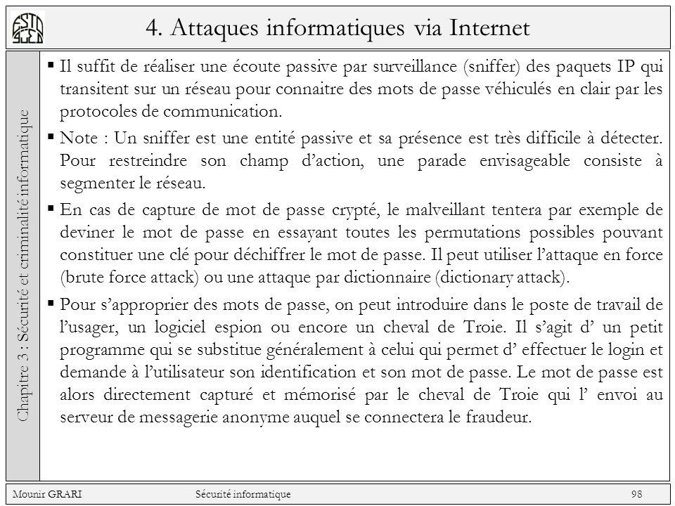 4. Attaques informatiques via Internet Il suffit de réaliser une écoute passive par surveillance (sniffer) des paquets IP qui transitent sur un réseau