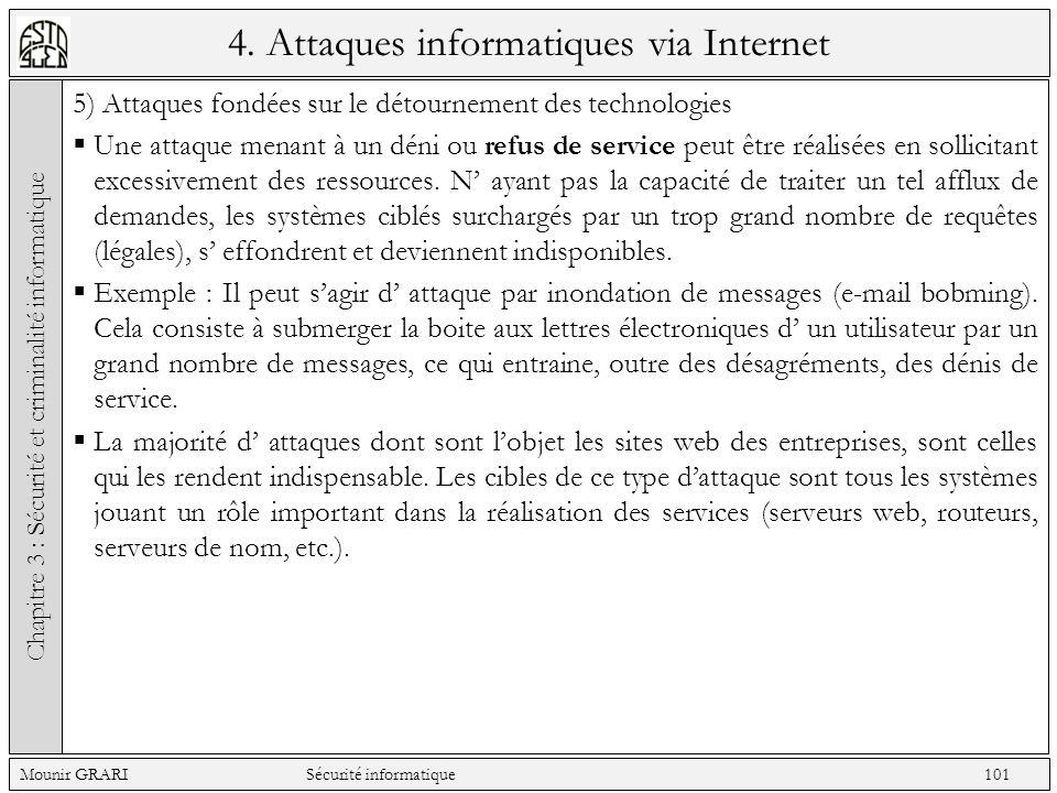 4. Attaques informatiques via Internet 5) Attaques fondées sur le détournement des technologies Une attaque menant à un déni ou refus de service peut