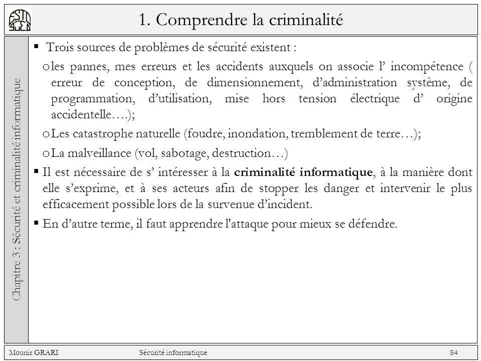 1. Comprendre la criminalité Trois sources de problèmes de sécurité existent : o les pannes, mes erreurs et les accidents auxquels on associe l incomp