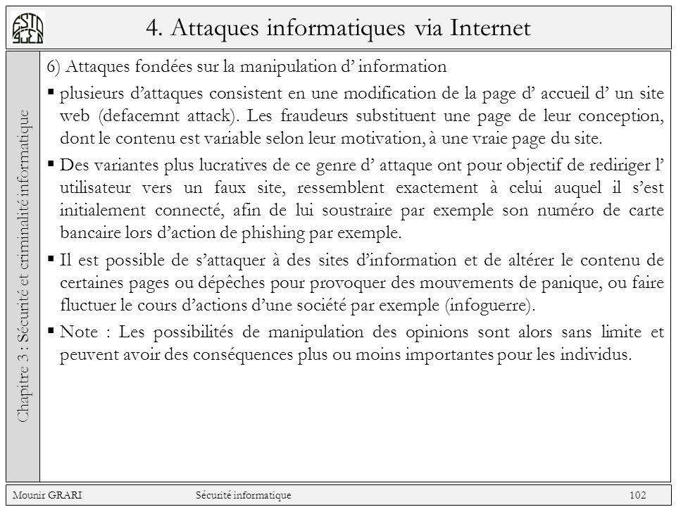 4. Attaques informatiques via Internet 6) Attaques fondées sur la manipulation d information plusieurs dattaques consistent en une modification de la