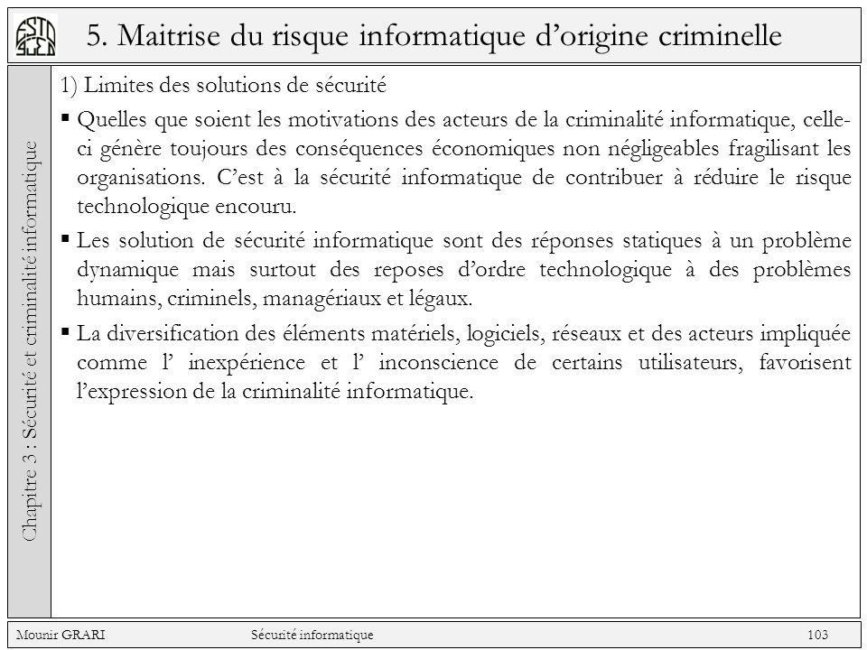 5. Maitrise du risque informatique dorigine criminelle 1) Limites des solutions de sécurité Quelles que soient les motivations des acteurs de la crimi