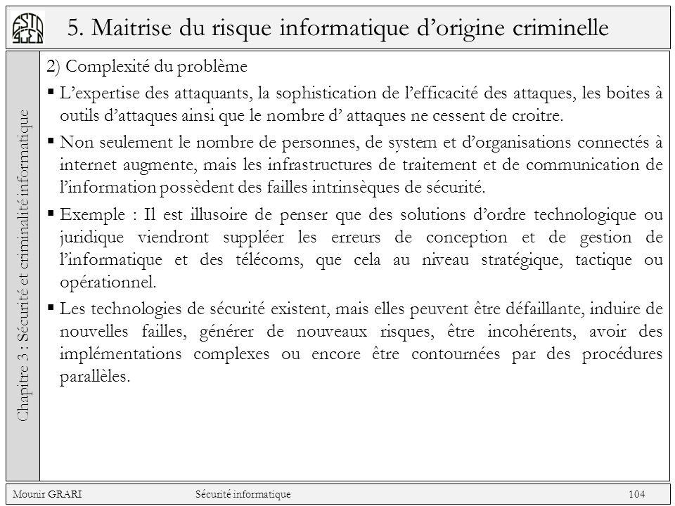 5. Maitrise du risque informatique dorigine criminelle 2) Complexité du problème Lexpertise des attaquants, la sophistication de lefficacité des attaq