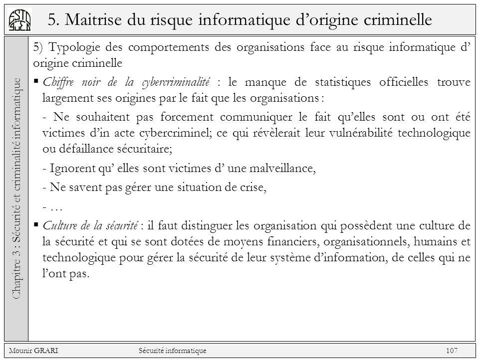 5. Maitrise du risque informatique dorigine criminelle 5) Typologie des comportements des organisations face au risque informatique d origine criminel