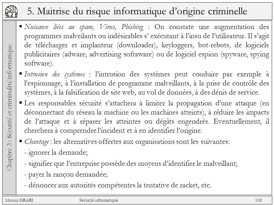 5. Maitrise du risque informatique dorigine criminelle Nuisance liées au spam, Virus, Phishing : On constate une augmentation des programmes malveilan