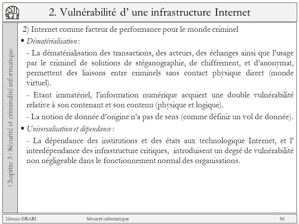 2. Vulnérabilité d une infrastructure Internet 2) Internet comme facteur de performance pour le monde criminel Dématérialisation : - La dématérialisat