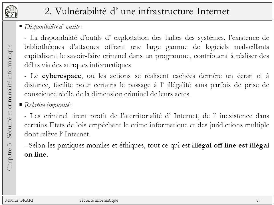2. Vulnérabilité d une infrastructure Internet Disponibilité d outils : - La disponibilité doutils d exploitation des failles des systèmes, lexistence