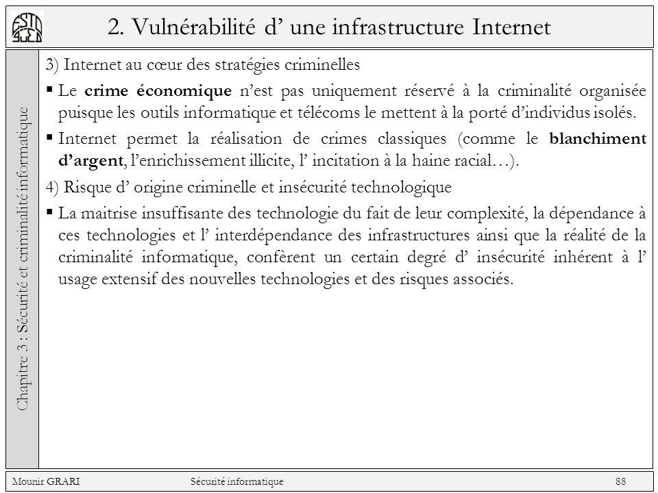 2. Vulnérabilité d une infrastructure Internet 3) Internet au cœur des stratégies criminelles Le crime économique nest pas uniquement réservé à la cri