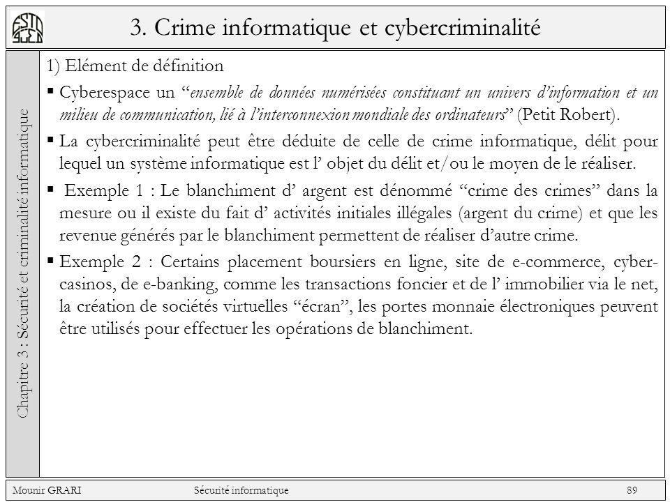 3. Crime informatique et cybercriminalité 1) Elément de définition Cyberespace un ensemble de données numérisées constituant un univers dinformation e