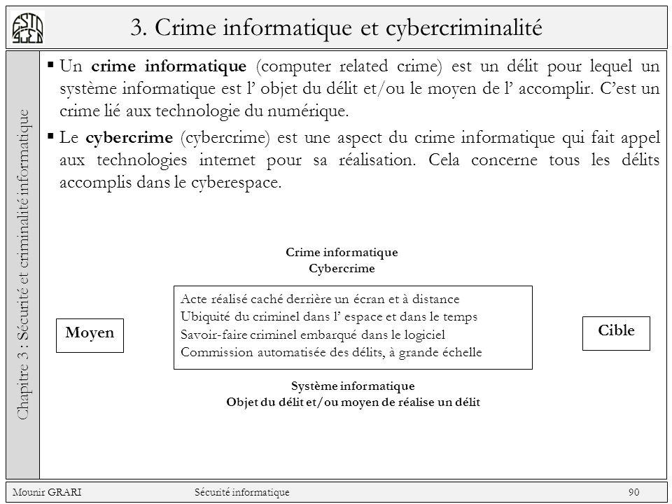 3. Crime informatique et cybercriminalité Un crime informatique (computer related crime) est un délit pour lequel un système informatique est l objet
