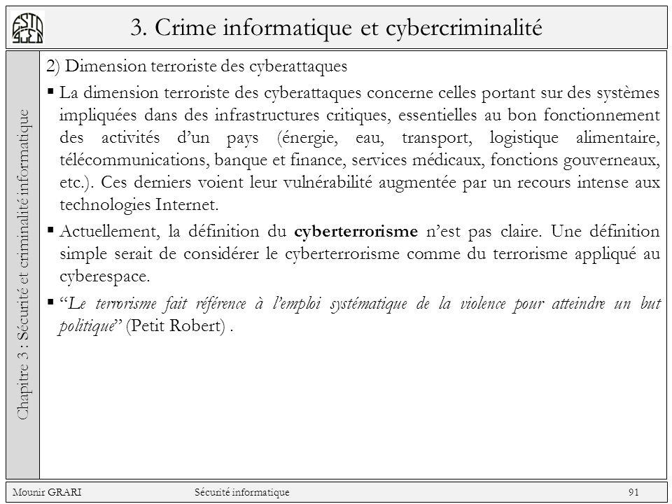 3. Crime informatique et cybercriminalité 2) Dimension terroriste des cyberattaques La dimension terroriste des cyberattaques concerne celles portant