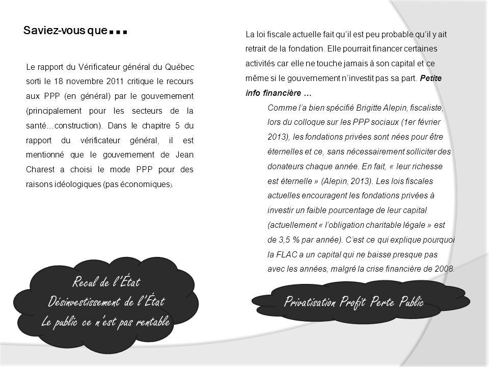 Saviez-vous que … Le rapport du Vérificateur général du Québec sorti le 18 novembre 2011 critique le recours aux PPP (en général) par le gouvernement