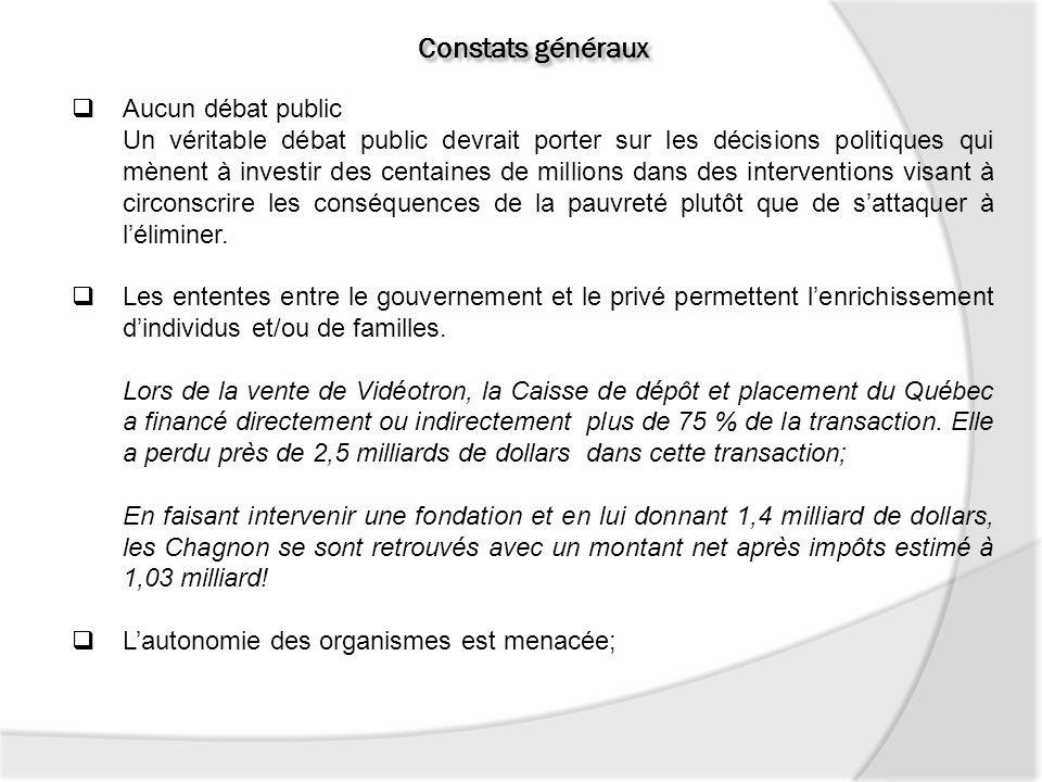 Constats généraux Aucun débat public Un véritable débat public devrait porter sur les décisions politiques qui mènent à investir des centaines de mill