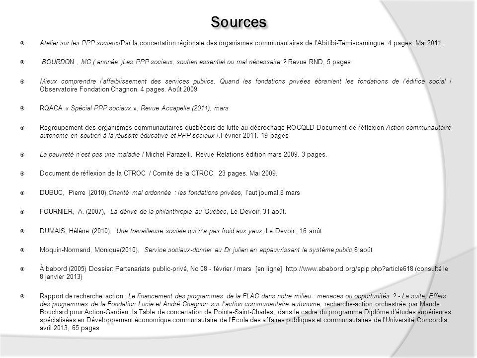 Sources Atelier sur les PPP sociaux/Par la concertation régionale des organismes communautaires de lAbitibi-Témiscamingue. 4 pages. Mai 2011. BOURDON,