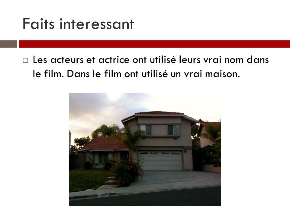 Faits interessant Les acteurs et actrice ont utilisé leurs vrai nom dans le film. Dans le film ont utilisé un vrai maison.