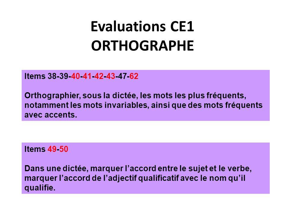 Evaluations CE1 ORTHOGRAPHE Items 38-39-40-41-42-43-47-62 Orthographier, sous la dictée, les mots les plus fréquents, notamment les mots invariables, ainsi que des mots fréquents avec accents.