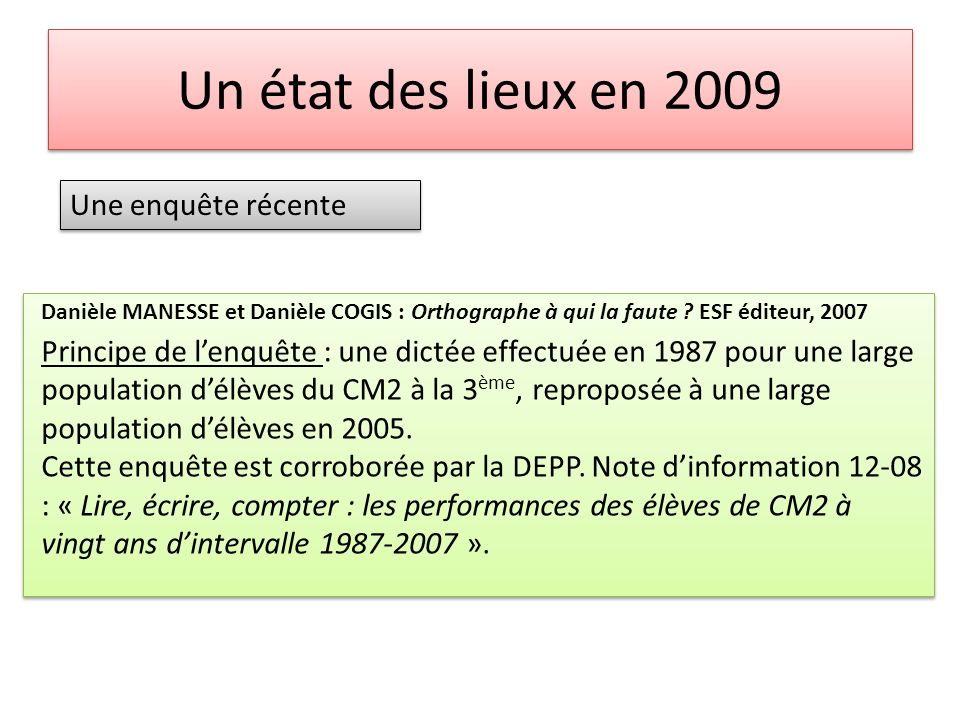 Un état des lieux en 2009 Une enquête récente Le soir tombait.