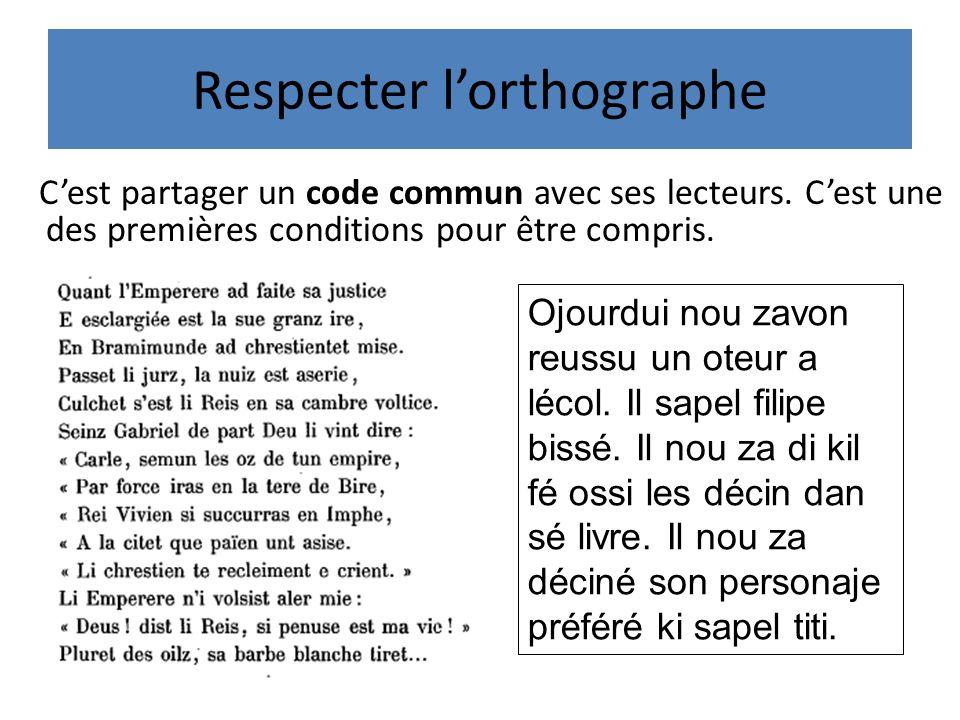 Respecter lorthographe Cest partager un code commun avec ses lecteurs.